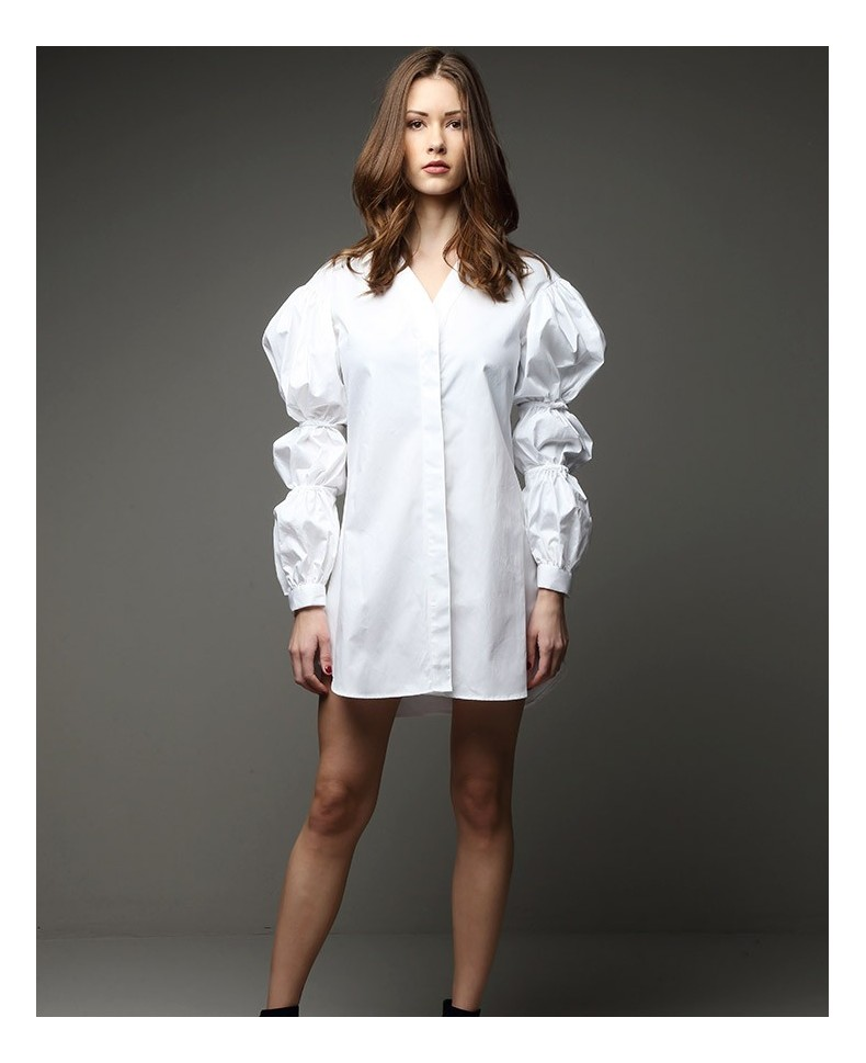 MINI DRESS MANGA MULTIGLOBO ONE WORLD WHITE